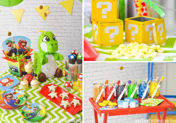 This delightful Super Mario themed party shows us how talented the designer is in playing colors. I love all of colorful details in this party!