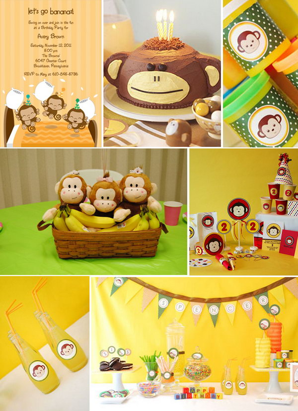 What A Cute Theme For Birthday Party Monkey And Banana Are Fabulous Most