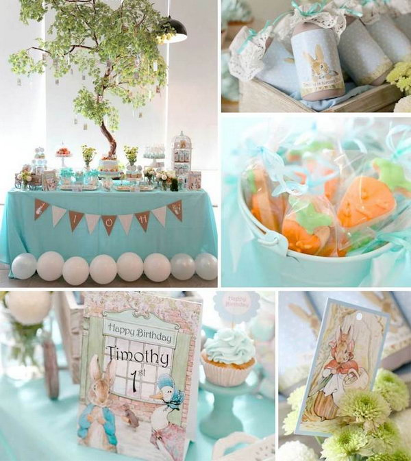 If you are planning a Peter rabbit themed birthday party for your little prince, this party will definitely give you some inspirations.