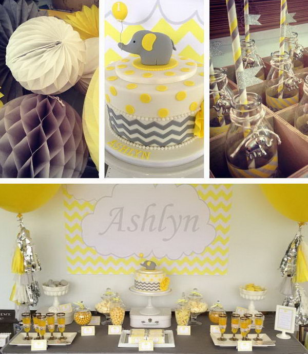 This yellow and grey elephant themed birthday party is one of my favorite parties we've ever featured. What an awesome party perfectly executed, with the adorable garland, bunting, the cute cake and sweets.