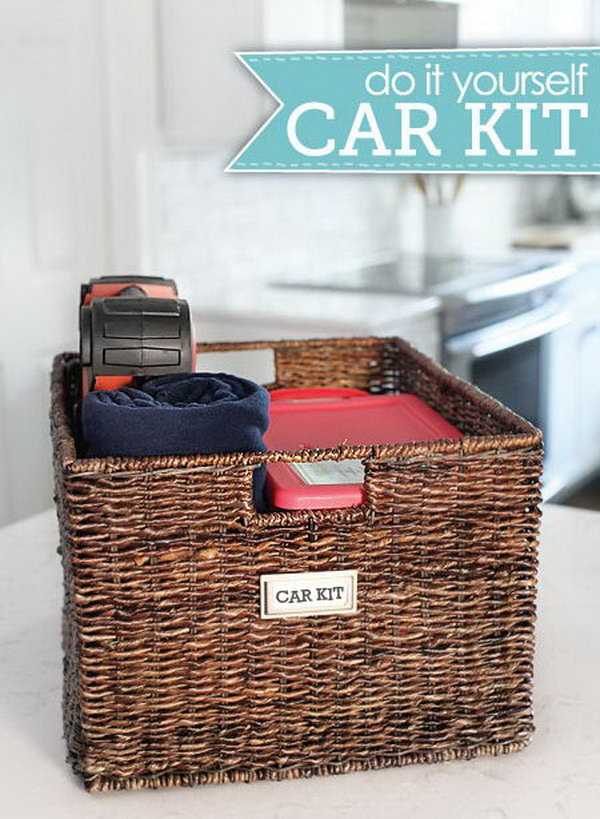DIY Car kit: Prepare a good sized wicker basket with two plastic boxes for the smaller items in. The remaining space can be a good storage for other bigger things, like a blanket, bottles, a first aid kit or anything else.