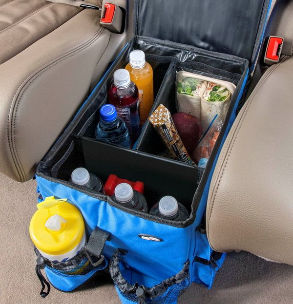 You can make full use of the space between two seats and have a basket there with some drinks, water, fruit, snacks, etc within your reach.