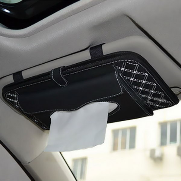 It is a good idea to attach a fabric bag to the car vision as a storage of CD, DVD and tissue paper within your reach, plus limit the storage space of your car.