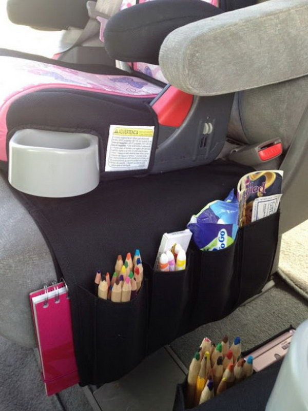 Beyond imagination, you can turn the flort remote control into an amazing car organizer for kids to contain colored pencils, books, tissue paper, or other smaller items for your kids. It will double as the seat protector from spills and other little messes.