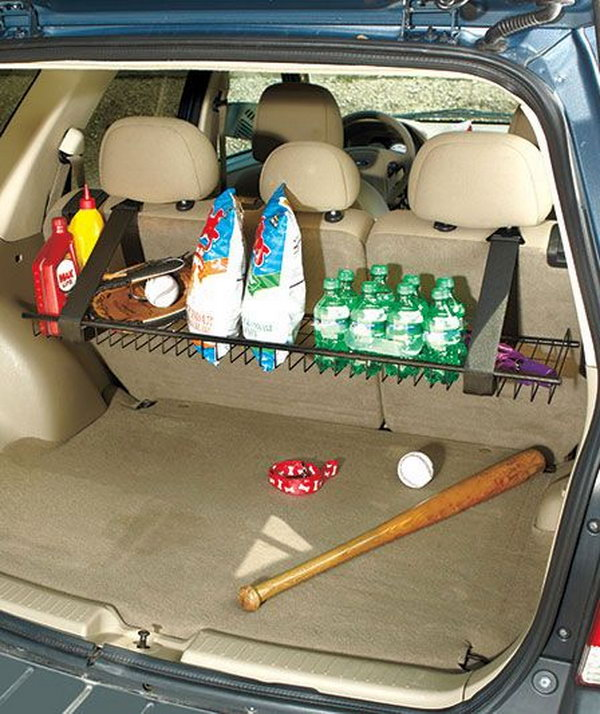 You can design a sturdy metal rack hanging from the rear seat of your vehicle with fabric magic straps. It is a storage of grocery bags, sports equipment, drinks and more. Besides, you can fold it up when not in use so that it is out of the way against the back of the seat.