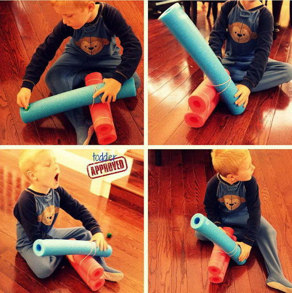 Pool Noodle Catapult. Since summer is wrapping up. Pool noodles you bought during summer are never used. It is wasteful to just hang them out. Then a pool noodle catapult will be a new toy for your kids. Learn how to do it. http://hative.com/catapult-projects-for-kids/