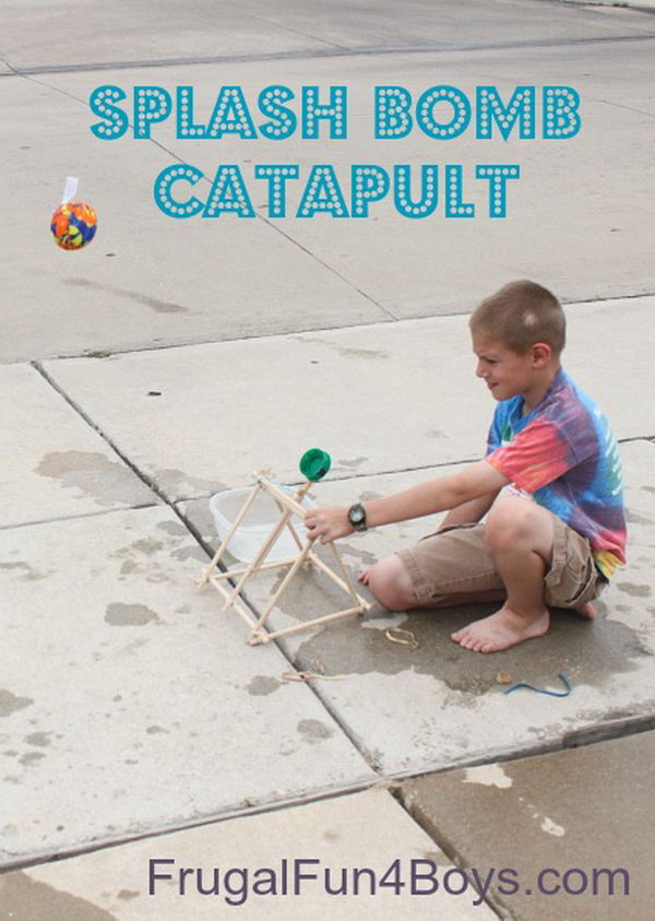 This catapult is a good weapon to shoot ping pong balls and water bombs, and it does not require special tools or a trip to the hardware store to build it. You just need some pre cut dowel rods and rubber bands which can be found around. Learn how to make it here. http://hative.com/catapult-projects-for-kids/