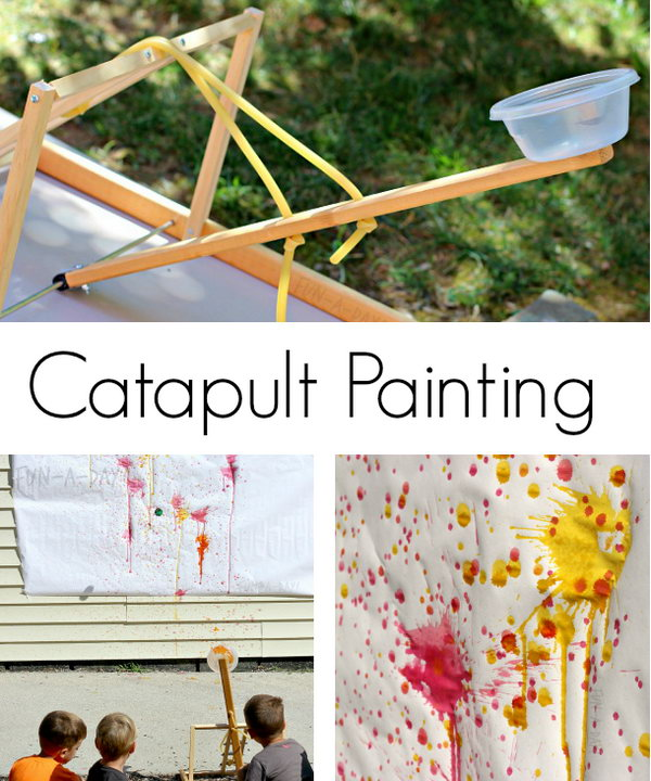 Painting Catapult. Here is an awesome catapult, which can be totally used to paint. Both adults and kids will enjoy creating a splat filled masterpiece using a homemade catapult. You can get some directions about how to make it and use it here. http://hative.com/catapult-projects-for-kids/