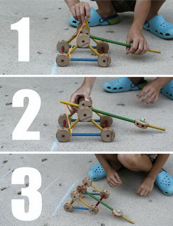 Tinker Toy Catapult. This experiment is a pretty simple construction, but your kids will benefit a lot from the skills involved, such as designing, building, working as a team, measuring, etc. Learn how to do it. http://hative.com/catapult-projects-for-kids/