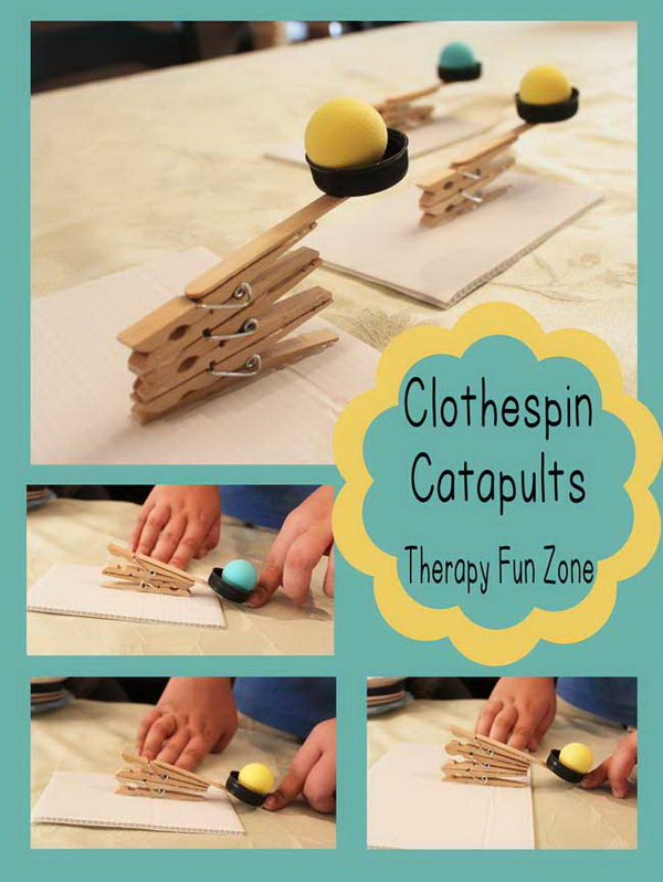 Clothespin Catapult. To make this catapult maybe involves some complex process like placing pegs in holes and putting the pieces together. It would be a great activity for older kids to make according to the directions here. http://hative.com/catapult-projects-for-kids/