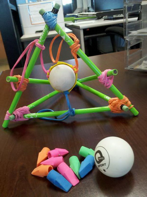 Desktop Slingshot Catapult. This catapult looks colorful and wonderful. It is also easy to make it, just with some spare office supplies. Learn how to make it here.