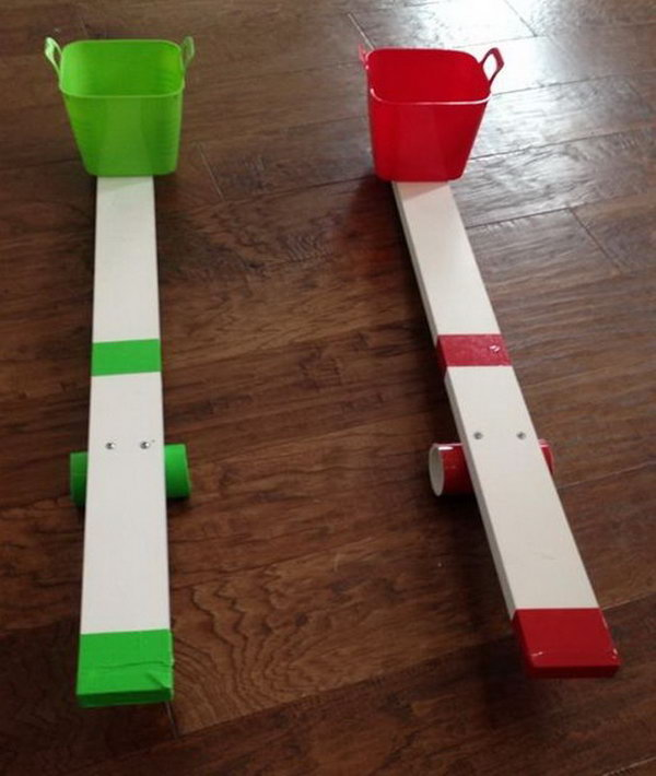 All you need to make this catapult toy is a bucket, a piece of PVC pipe, a board, a piece of primed wood. All these materials can be got around you, plus it doesn't take much to make.