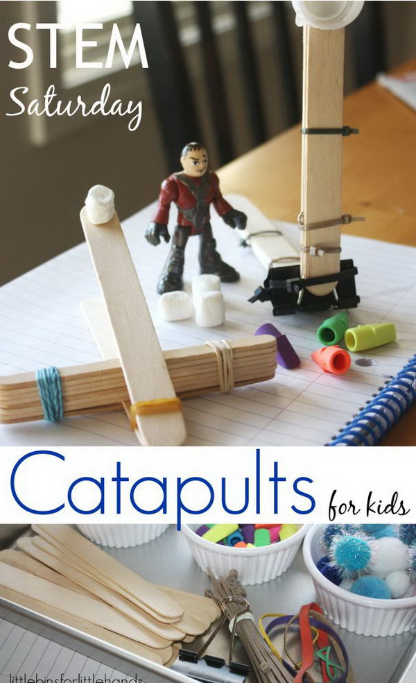Popsicle Stick Catapult. It is easy and quick to build this awesome possible stick catapults at home with a few simple materials. Check the video here to see how to build it. http://hative.com/catapult-projects-for-kids/