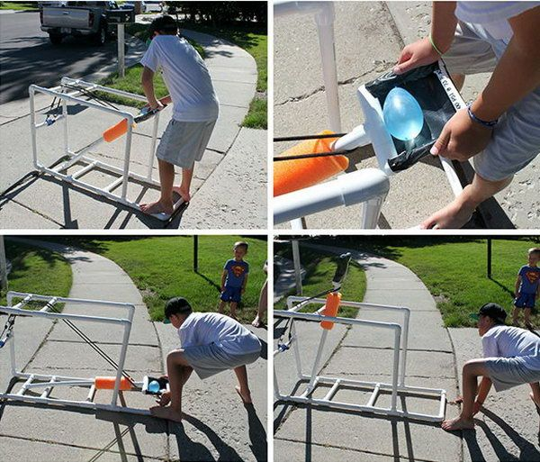 PVC Water Balloon Catapult. Put a balloon in, pull the arm down as far as possible, let it fly. Kids would have fun with this project. http://hative.com/catapult-projects-for-kids/