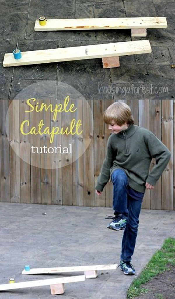 This simple catapult will provide you with entertainment. You can launch it with your foot. It works great for launching small items. Learn how to do it here. http://hative.com/catapult-projects-for-kids/