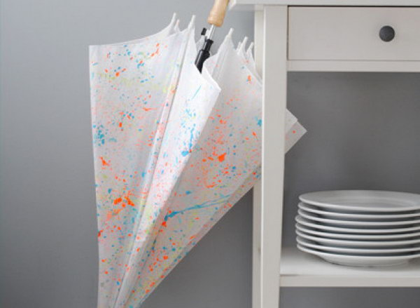 Paint Splattered Umbrella. This gorgeous neon umbrella makes a fabulous and original birthday present. You can create other unique patterns on the umbrella with your umlimited imagination.