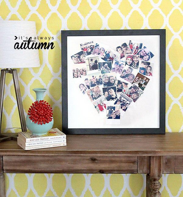 Heart Photo Collage. This heart photo collage is a great and novel gift idea for your friend's birthday. It's a cute way to put your pictures on display.