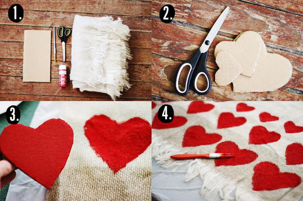 Heart Blanket. This is a very simple and easy DIY gift. It is feasible for everybody to make this pretty heart blanket.