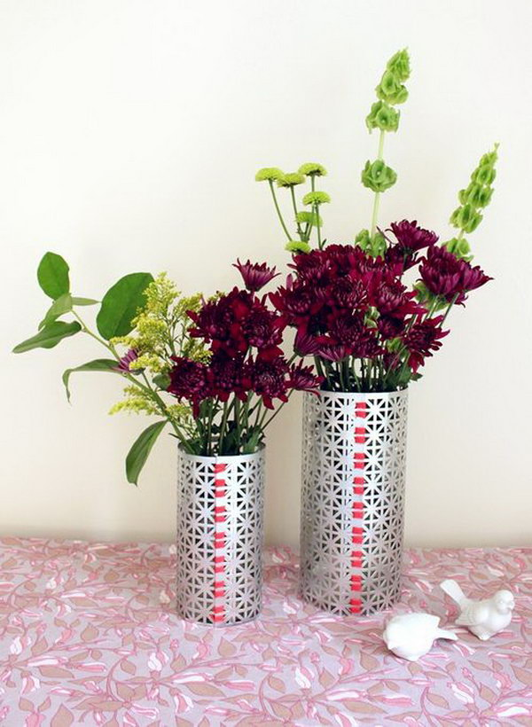 DIY Flower Vases. These gorgeous vases are great birthday presents for everyone. This is an inexpensive and creative gift idea.