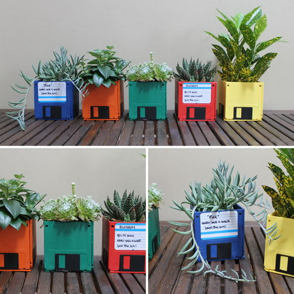 DIY Floppy Disk Planters. It is very environment friendly to make floppy disk planters out of old floppy disks. And these handmade planters make a wonderful birthday present for a flower lover.