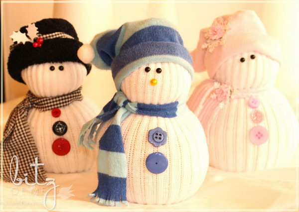Sock Snowman. A cute sock snowman makes an awesome present for your girl friends. Recycle your old socks and buttons to create a unique sock snowman for them.