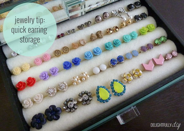 DIY stud earring holder. If your girl friend has lots of stud earrings, then this DIY stud earring holder is a perfect present for her. It is very thoughtful of you to give friends something that they actually will use.