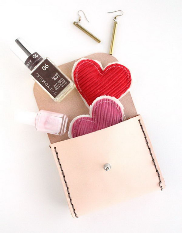 Leather Pouch. A handmade leather pouch is a very practical present for your girl friends to organize their useful small stuff. Moreover it is not difficult to make.