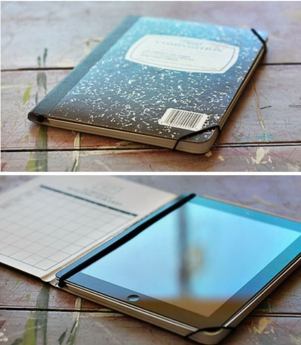 Notebook ipad case. iPad case can be a little more expensive. Here is an easy way to make an inexpensive iPad case out of an old notebook. Get detail instructions here.