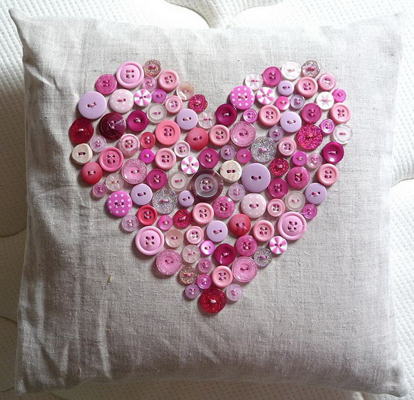 This vintage button heart pillow is perfect for Valentines Day.