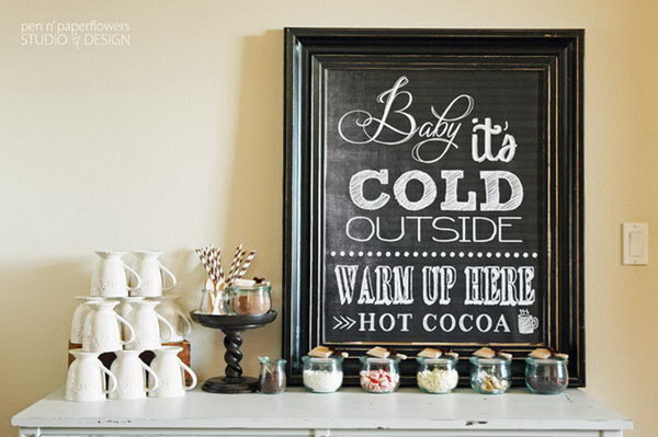 Cocoa Bar. Enjoy your classic cocoa bar for kids and adults alike. Top cocoa with a variety of creamers, syrups, sweets. You can offer alcoholic options for adults to satisfy different flavors.