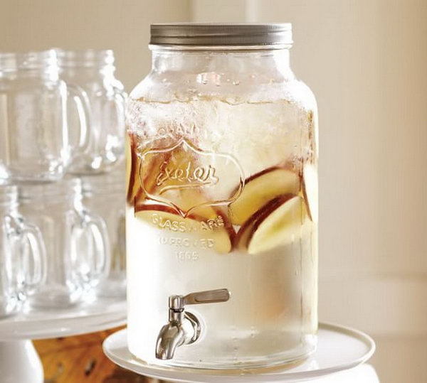 Mason Jar Drink Station. Mason jar inspired collection continues the tradition of casual entertaining. It's fantastic to let guests help themselves to lemonade or ice tea with this mammoth mason jar drink dispenser.