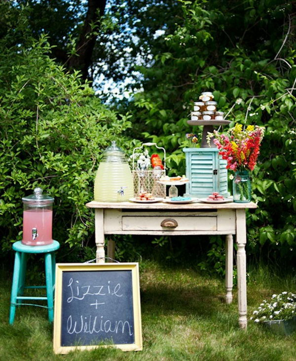 Rustic Drink Station. Design your drink station to coordinate with your party theme. Stack jars of fresh honey on a cake plate to serve a yummy and sweet flavor for your guests. Fill the dispensers with colorful juice to get the beverage as they like. All can be displayed on an old dresser or desk to highlight the elegant rustic style.