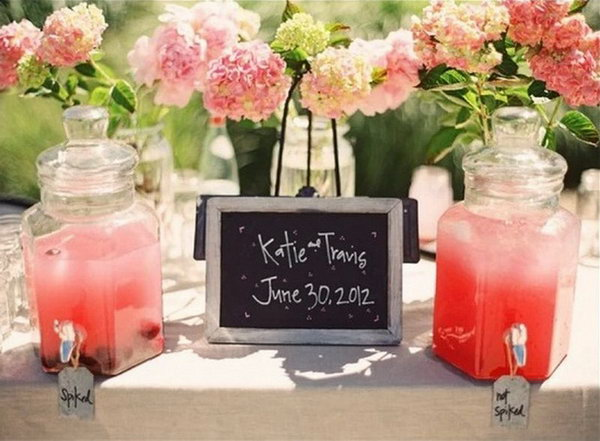 Pretty Pink Drink Station. I really appreciate this pink drink station for its chalkboard, exquisite  labels, fresh flowers as well as rosy hydration beverage for a sweet romantic style.