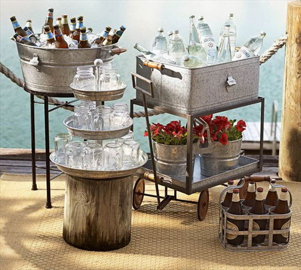 Mix and Match Drink Station. Create this mix and match drink station with galvanized tiered stands, tubs and a rolling cart. Serve them with wine bottles, mason jars.