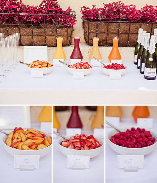 Mimosa Bar. Add an assortment of fresh fruit, such as berries, blood oranges, lemonades. Serve them up in pretty containers. Finish this beautiful mimosa bar style off with beautiful bottles of your   favorite wine.