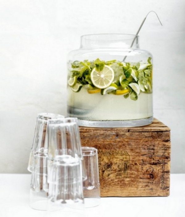 Punchbowls Drink Station. Add refreshing drink, fresh lemonades and classic drink glasses to create this punchbowl version party station. It brings back the punchy charm style.