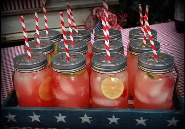 Colorful Mason Jar Drinking. Keep your drink station in trend with these mason jars. Dress them up with pretty straws and fancy lids for beautiful outlook in bright colors.