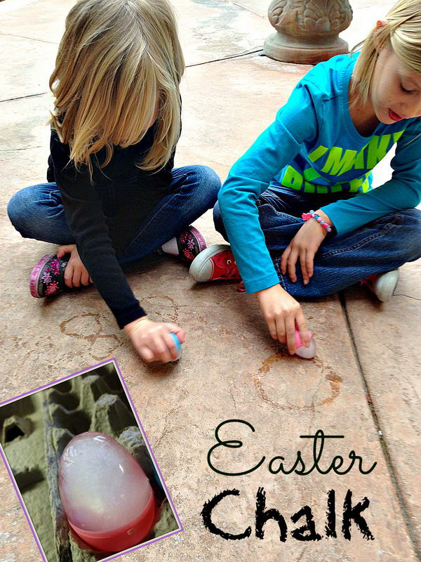 Easter Chalk. Fill the Easter egg with water by taking apart into two sections and close it to trap the water inside. Take the egg out with the hole facing up to prevent the water from leaking and put it in an egg carton. Freeze it overnight. You can write down whatever you like.