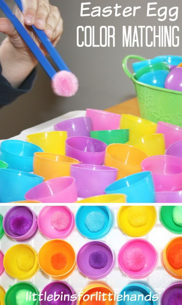 Easter Egg Color Matching. Use the kids friendly chopsticks to grab the pom pom and put it into the Easter egg half of the same color. This simple matching game is a good way to train your motor skills.
