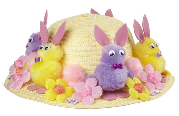 Purple Bonnet Chldrens Hat Decorate With Chicks /& Eggs Easter