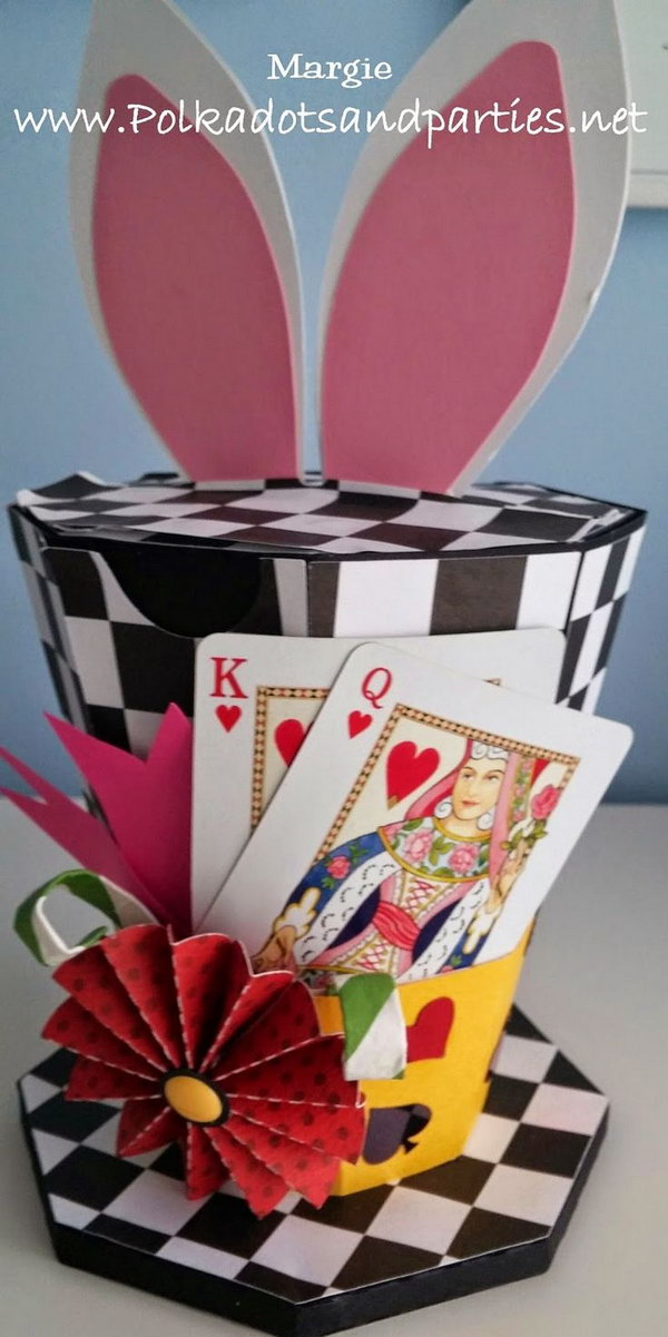 Easter Bonnets Inspiration Hat Box. This great inspirational hat box comes from Alice in Wonderland series. The playing card element adds a magic flavor to this cool hat box and the bunny ears at the top makes it funnier.