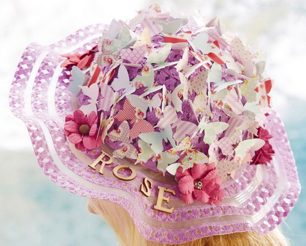 Butterflies Easter Bonnet. Use floral paste paper to create this butterfly Easter bonnet with amazing grace. Cover the folding colorful butterflies from scrapbooking papers with paper flowers all over the top of your bonnet. Finally, add some flowers around the rim.