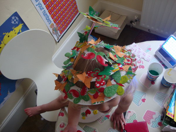 Paper Plate Easter Bonnet. Start with a paper place and cut it out with rough spiral sketch. Using a regular straw to support it. Use butterflies with different patterns and color to decorate it.