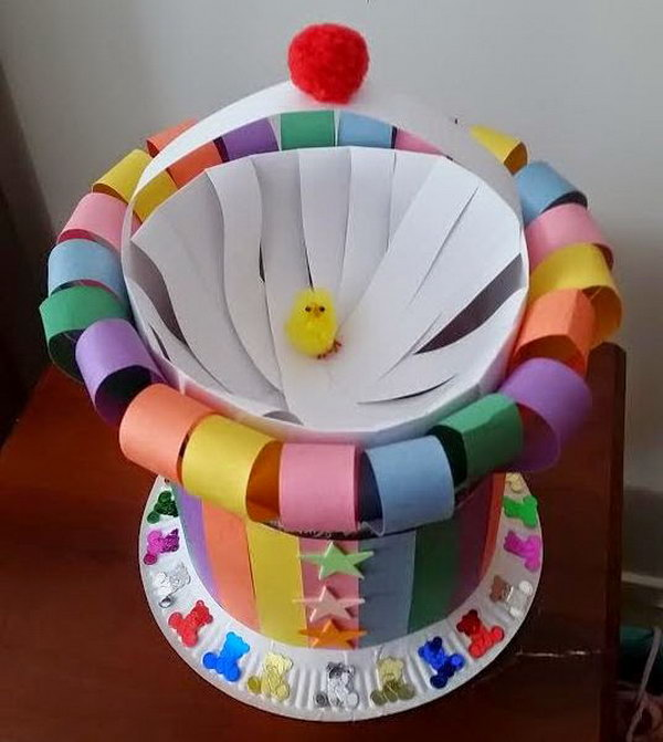 Colorful Strips Easter Bonnet Roll The Paper Into A Cylinder And Cut