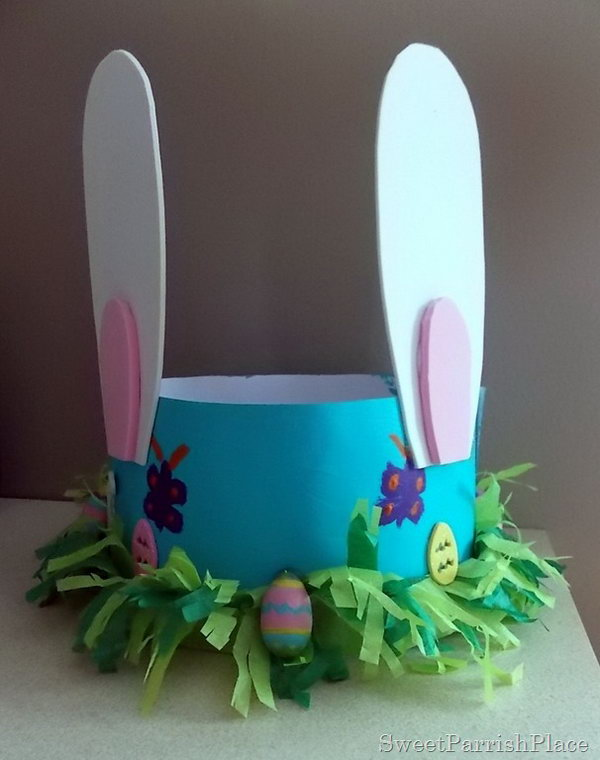 Sweet Easter Bonnet. This Easter bonnet is so cute. DIY it with craft paper to form the hat model and you can paint your beautiful pattern with the color you like. As usual, glue the ears and then you can make some decorations with colorful tissue paper and tiny Easter eggs.