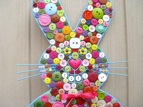Easter Bunny Button Decoration This Is Covered With Buttons Of Various Colors In