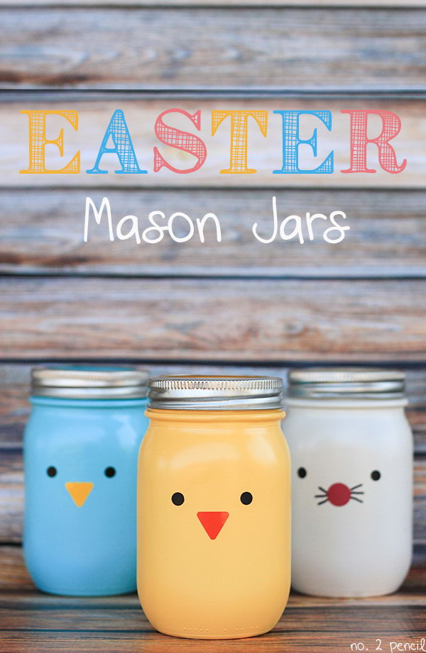 Cute Easter Mason Jar Crafts. These little Easter mason jars with bright colors are easy to make and can be used as vases or candy jars. Spray paint to mason jars and adhere vinyl to them, you can also draw some cute expressions.