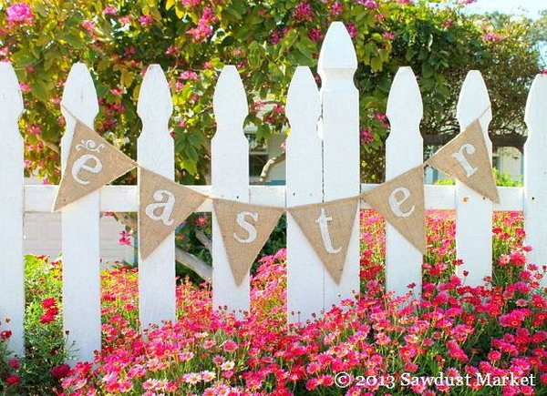 "Easter and Spring Burlap Banner. This reversible Easter banner burlap pennant reads ""Easter"" in front and has sweet white cots at the back. It looks good at both sides and makes a perfect decor for you Easter festive outlook."