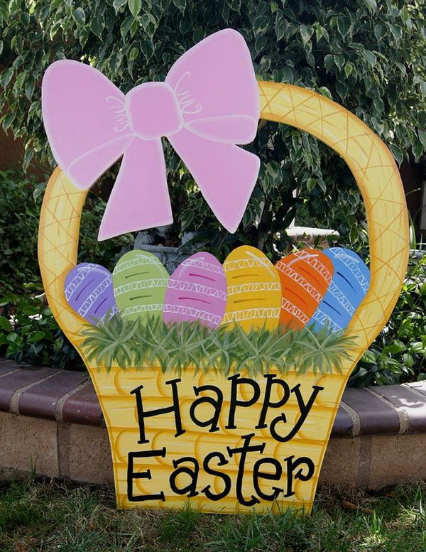 Easter Basket Yard Art. This cute Easter basket is made of Baltic birch piece with 2 coats of polished varnish for protection. It's so great to decorate your yard with this bright color art piece.