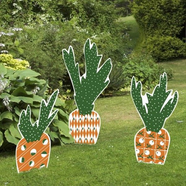 Carrot Easter Yard Sign Set. When it comes to the element of Easter decorations, you may think about bunny and Easter eggs. These Easter carrot yard signs  and stakes gives off a new look for Easter decoration. They are fade resistant and can last from bad weather.